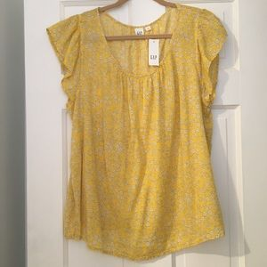 NWT GAP shirt sleeve women's floral yellow top